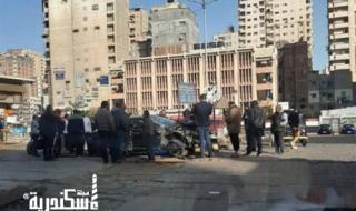 "اصطدام قطار ""ابو قير"" بسيارة ملاكي بمزلقان سيدي بشر"