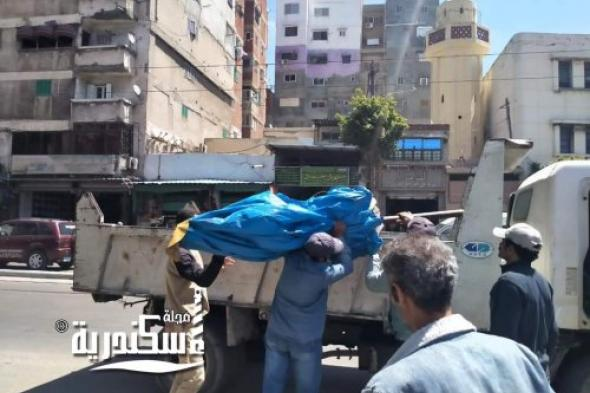 حملة مكبرة  لإزالة الإشغالات بمنطقة مينا البصل لتأكد من تطبيق الإجراءات الاحترازية