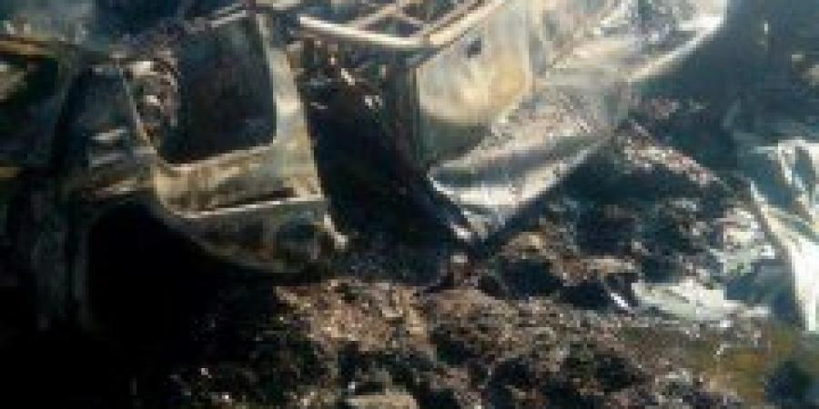 إشتعال النيران في أتوبيس نهاية كوبري الألماني الطريق الدولي الساحلي المتجه الي الإسكندرية