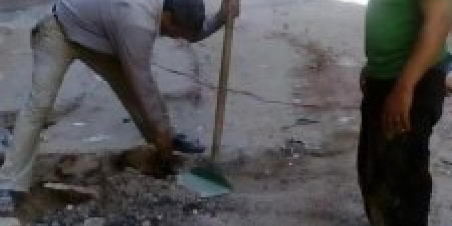معالجة هبوط طبيعي فى شارع المناشي بمنطقة كرموز حى غرب الإسكندرية