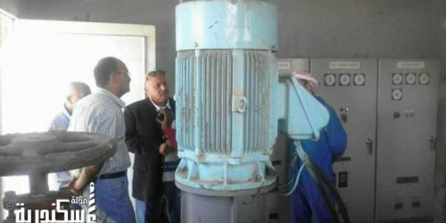 رئيس حي العامرية يتفقد محطة مياه مريوط لحل مشكلة إنقطاع المياه فى العامرية بالإسكندرية