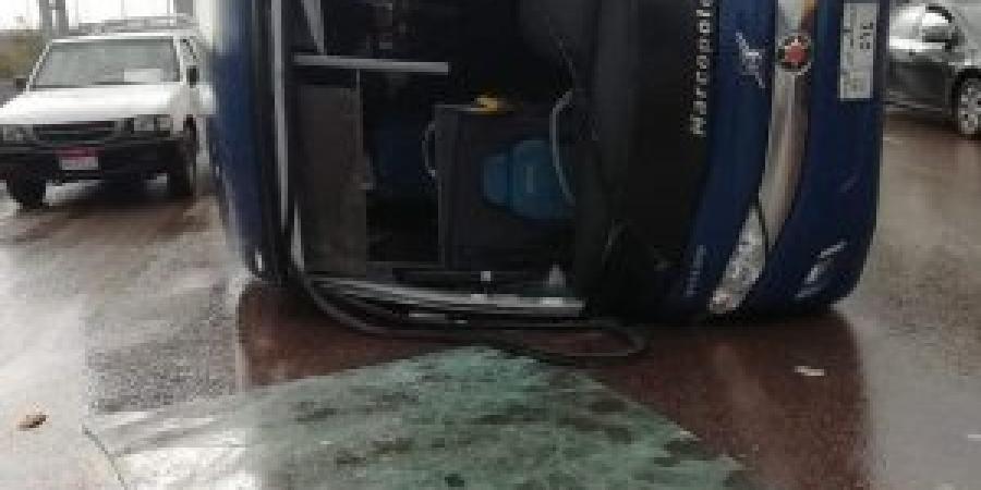 """أصابة سائق أثر انقلاب اتوبيس بطريق """"اسكندرية  _ القاهرة """"الصحراوي"""