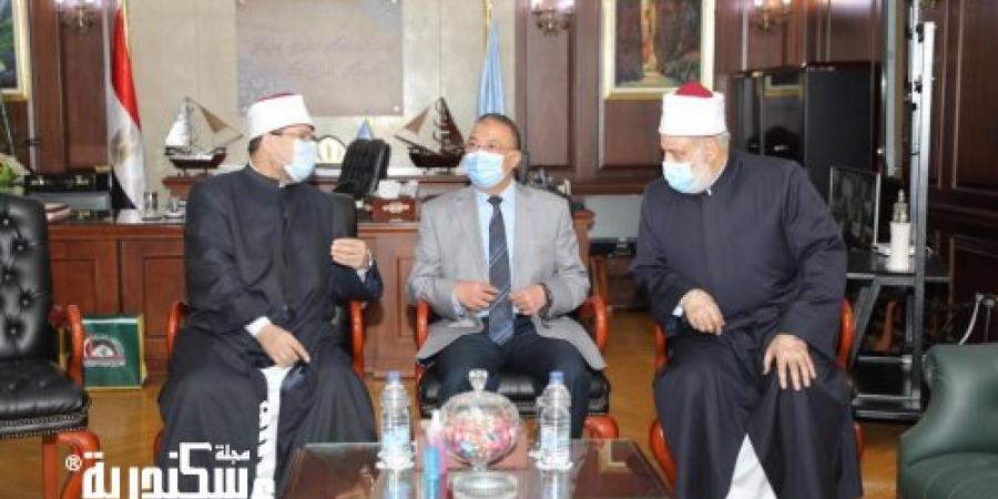 وكيل الأزهر ووزير الأوقاف ومحافظ الإسكندرية يطلقون شارة بدء فعاليات القافلة التوعوية المشتركة
